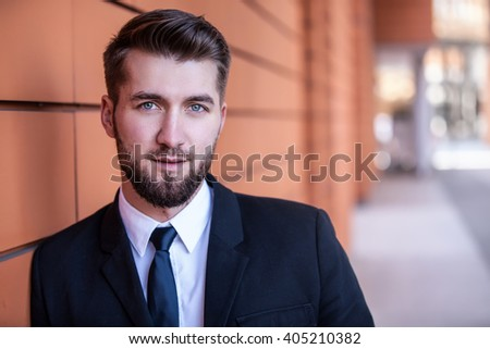 Portrait of an attractive business man  - stock photo