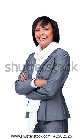 Portrait of an attractive businesswoman wearing a white scarf, smiling at the camera - stock photo