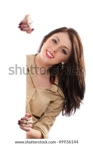 Portrait of an attractive businesswoman with a blank board