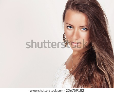 Portrait of an attractive fashionable young brunette woman. Girl Bride - stock photo