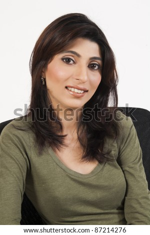 Portrait of an attractive Indian Businesswoman, isolated on white background - stock photo