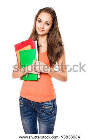 Portrait of an attractive slender young brunette student girl. - stock photo