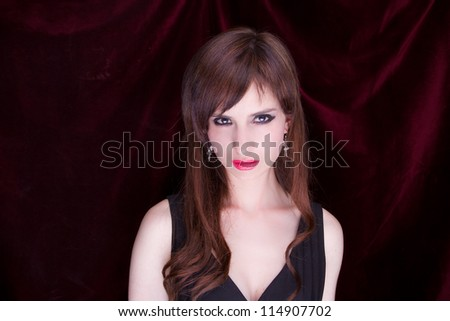 Portrait of an attractive steam goth girl - stock photo