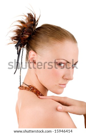 Portrait of an attractive woman - stock photo