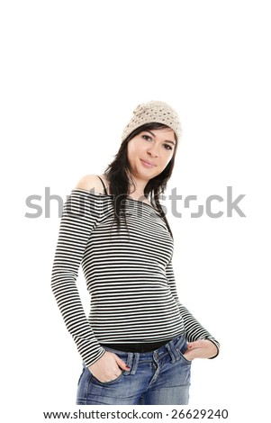 Portrait of an attractive young woman isolated on white background..