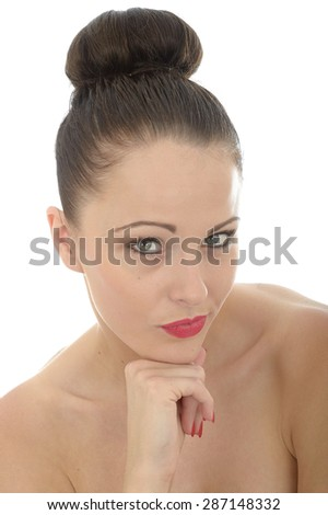 Portrait Of An Attractive Young Woman Resting Her Head On Her Hand Looking Confident and Happy Shot Against A White Background - stock photo