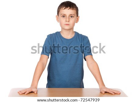 Portrait of an authoritative schoolboy, chief of the class - stock photo
