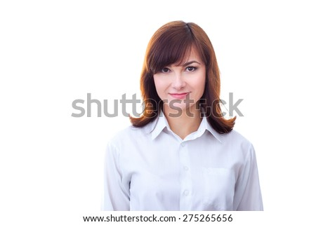 Portrait of an confident businesswoman against isolated background.  - stock photo