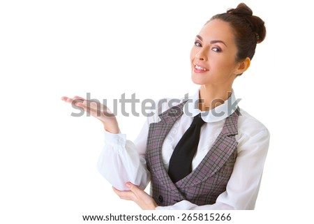 Portrait of an confident businesswoman. This photo has been produced with these professionals : make-up artist, hair dresser and stylist. A professional retoucher gave it the final magic touch. - stock photo