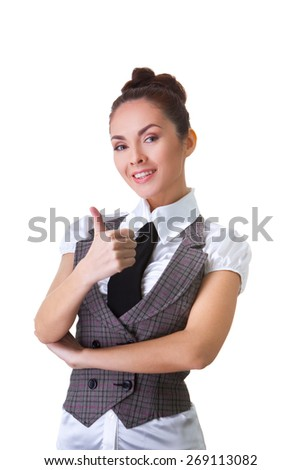 Portrait of an confident businesswoman. Thumbs Up. This photo has been produced with these professionals : make-up artist, hair dresser and stylist. A professional retoucher gave it the final magic - stock photo