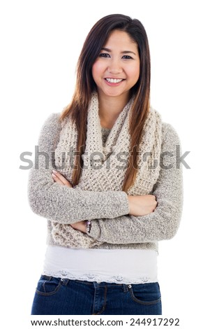Portrait of an early 20s casual young  Malaysian woman isolated on a white background - stock photo