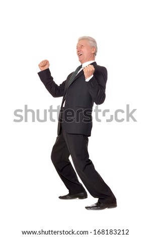 Portrait of an elderly happy businessman on a white background