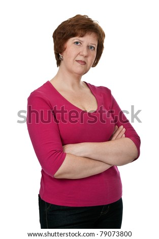 portrait of an elderly lady in red dress isolated on white background - stock photo