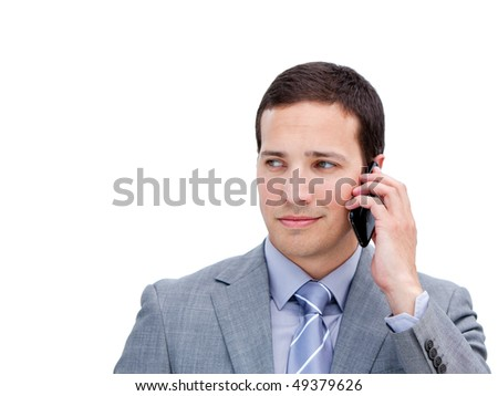 Portrait of an elegant businessman on phone against a white background