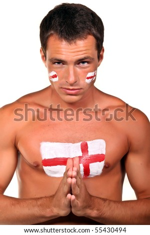 Portrait of an english football fan with flag on his body and face, isolated on white