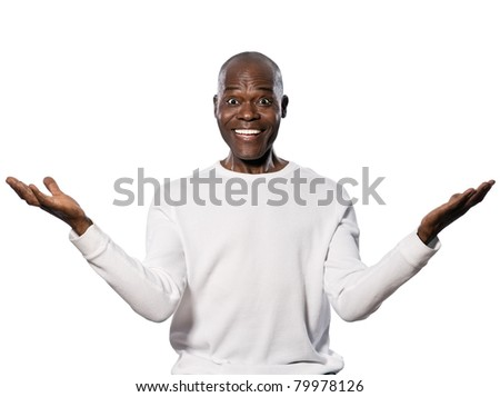 Portrait of an excited afro American man with eyes wide open smiling in studio on white isolated background - stock photo