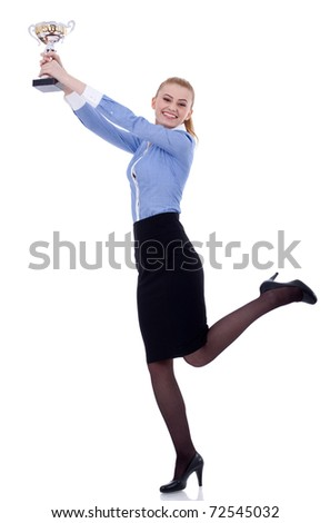 Portrait of an excited young business woman winning a trophy, isolated on white background - stock photo