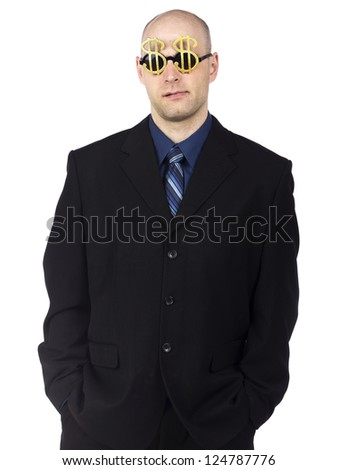 Portrait of an executive man wearing handmade dollar glasses isolated on a white background - stock photo