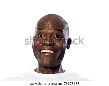 Portrait of an expressing happy Afro American man smiling in studio on white isolated background - stock photo