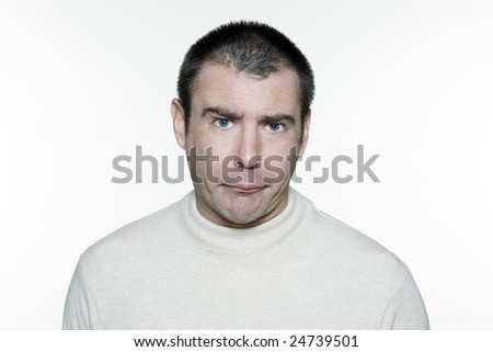 Portrait of an handsome expressive man in studio on white isolated background - stock photo