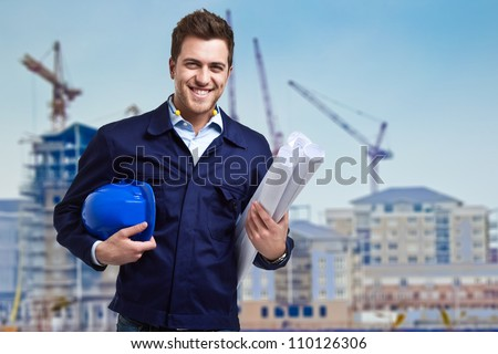 Portrait of an handsome young architect - stock photo