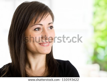 Portrait of an happy woman - stock photo