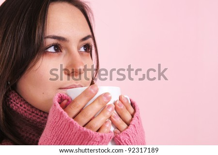 portrait of an ill girl with cup - stock photo