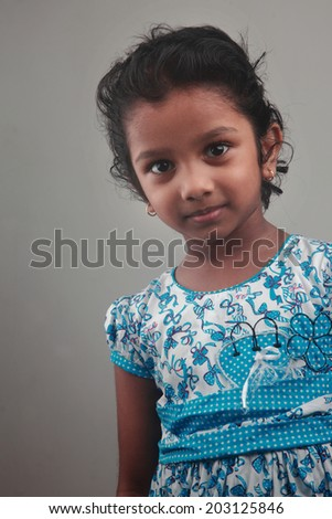 Portrait of an Indian girl child - stock photo