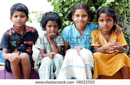 Portrait of an Indian Kids - stock photo