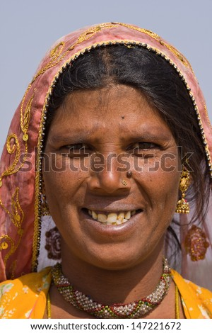 Portrait of an Indian woman, Pushkar, Rajasthan, India. - stock photo
