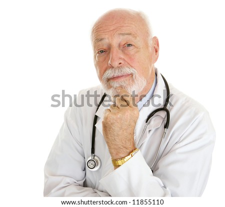Portrait of an intelligent, thoughtful doctor isolated on white. - stock photo