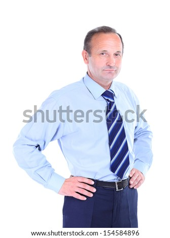 Portrait of an old businessman in suit isolated in a white background - stock photo