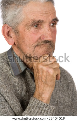 Portrait of an old farmer isolated on white - stock photo