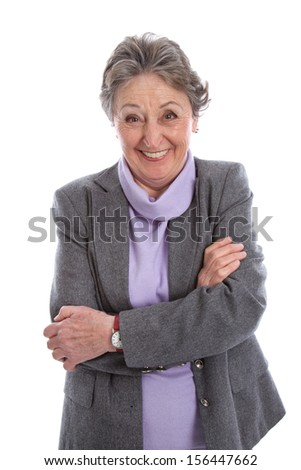 Portrait of an old isolated happy senior woman. - stock photo