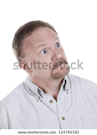 Portrait of an old man looking to the side of a white background - stock photo