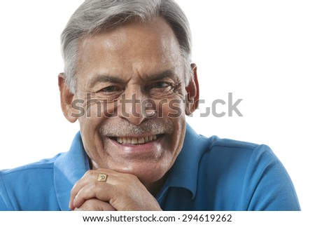 Portrait of an old man smiling - stock photo