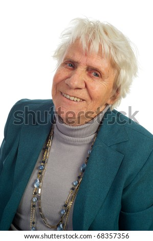 Portrait of an old woman isolated over white