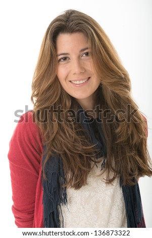 Portrait of an smiling cute young brunette - stock photo