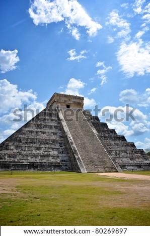 Portrait of Ancient Mayan pyramid in Chichen-Itza, Mexico - stock photo