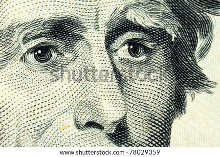 Portrait of Andrew Jackson on the Twenty Dollar banknote - stock photo