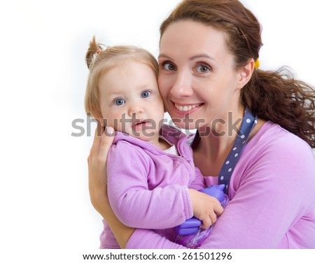 Portrait of angelic baby and his mother - stock photo