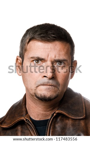 Portrait of angry man - stock photo