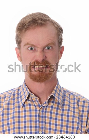Portrait of angry man on white background - stock photo