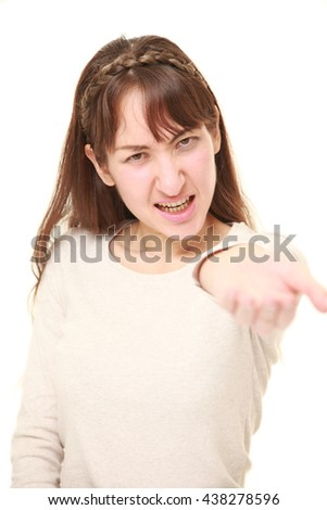 portrait of angry woman requests something - stock photo