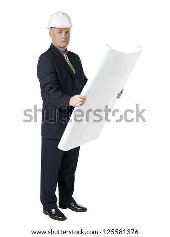 Portrait of architect holding a plan while looking at camera against white background - stock photo