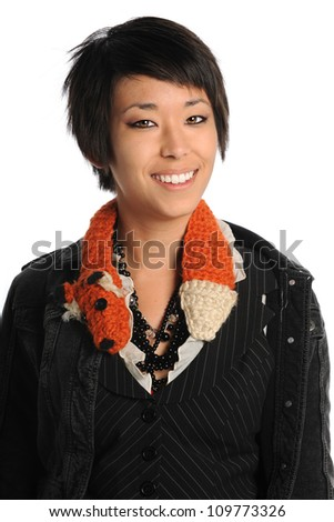 Portrait of Asian American woman smiling isolated over white background - stock photo