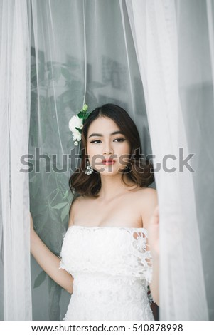 Description asian beautiful brides wedding, naked tied to bed post