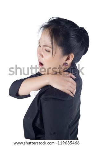 portrait of asian business woman suffering from the pain and massaging her neck, Model is Asian woman - stock photo