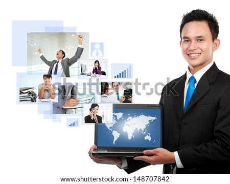 portrait of asian Businessman with his global network team - stock photo