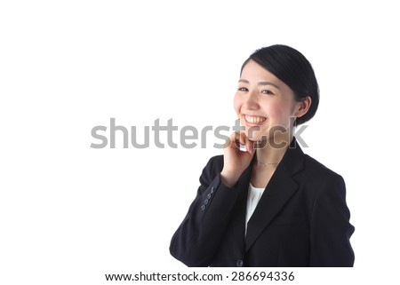 portrait of asian businesswoman on the white background - stock photo